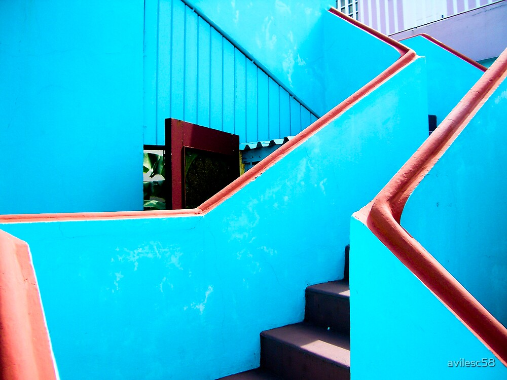 Blue stairs by avilesc58