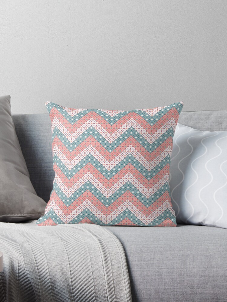 Robins Egg Blue and Pink  Dotted Chevron Retro Pattern by coverinlove