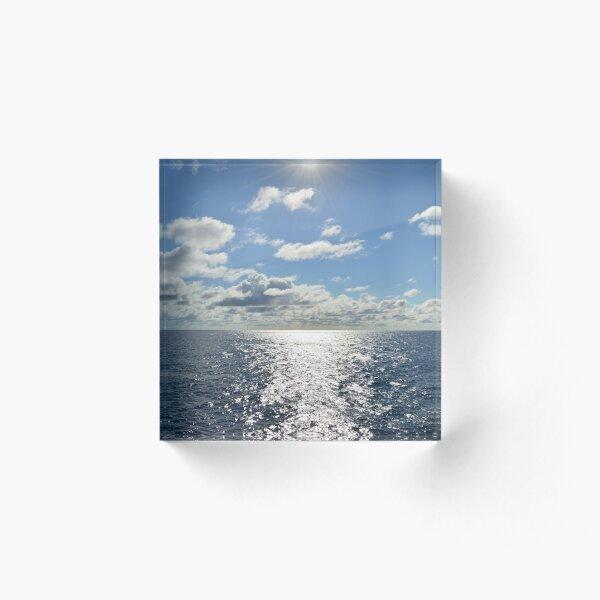 Bright Sunny Ocean Horizon Acrylic Block