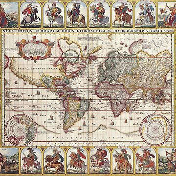 1652 Map of the World, Doncker Sea Atlas World Map by VintageArchive