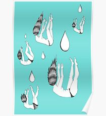Turquoise Drip Drop Poster