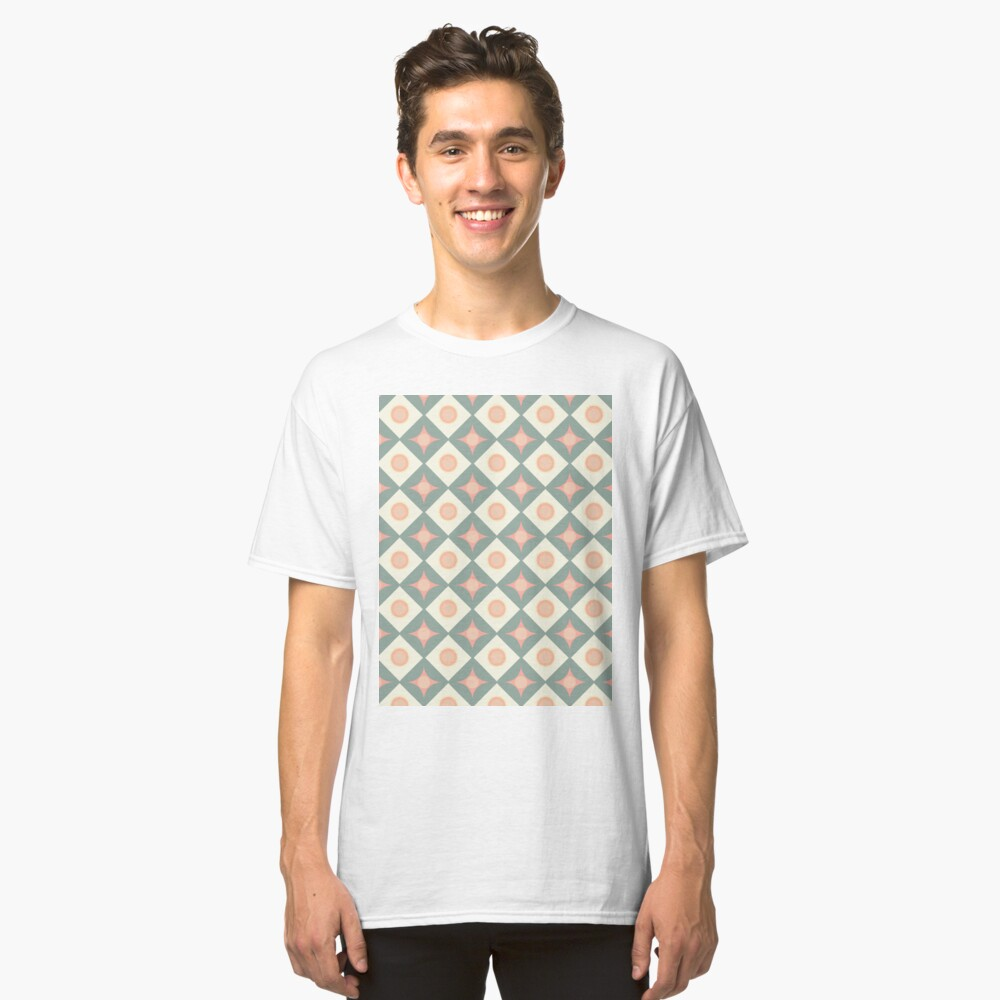Pink and Green Dots in Diamonds and Stars Retro Pattern Classic T-Shirt Front