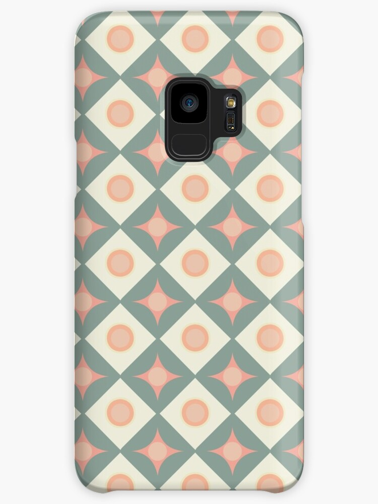Pink and Green Dots in Diamonds and Stars Retro Pattern by coverinlove