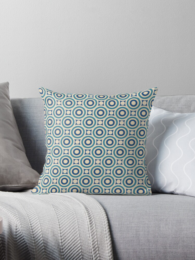 Robins Egg Blue and Navy Blue Intersecting Circles and Dots Retro Pattern by coverinlove