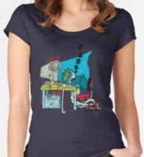 Sleepy Sam on Computer Women's Fitted Scoop T-Shirt