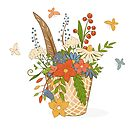 Basket with a bright bouquet of flowers. by Elsbet