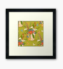 Basket with a bouquet of flowers, green seamless background Framed Print