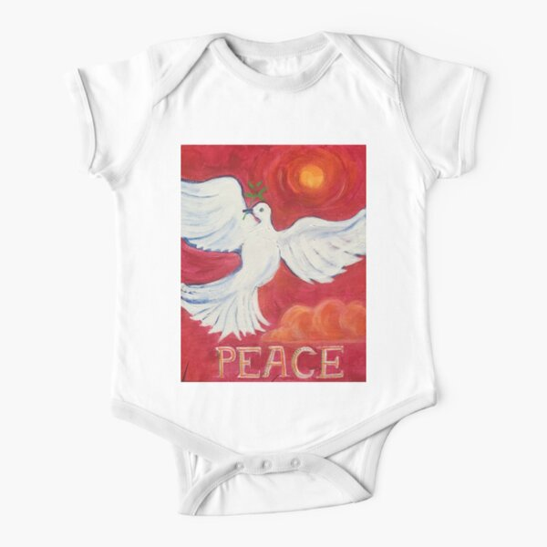Peace  Short Sleeve Baby One-Piece