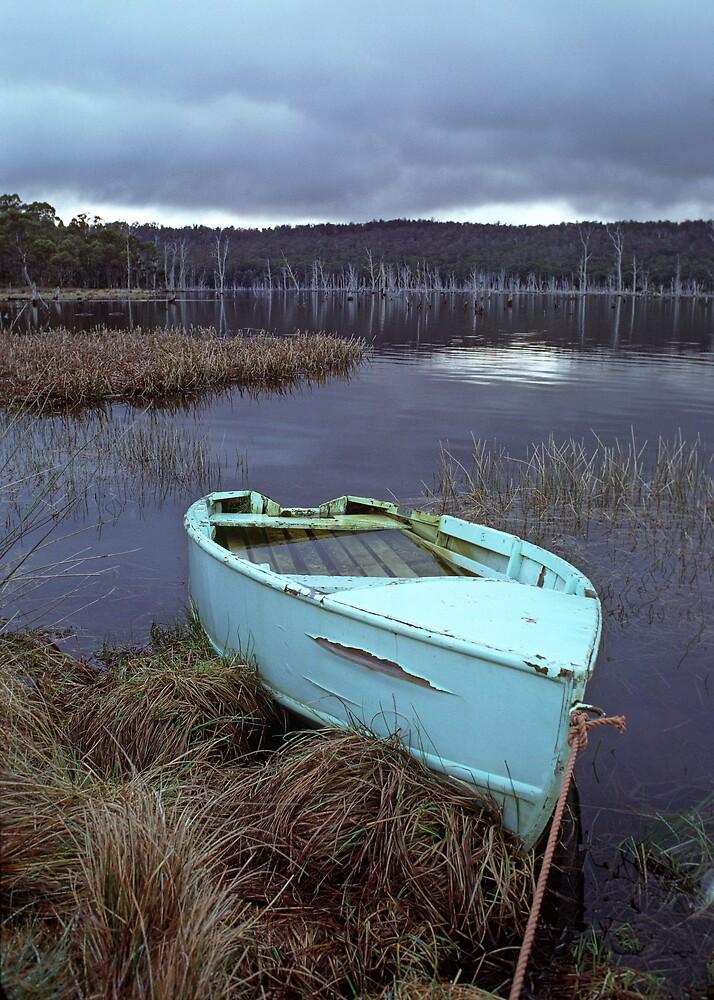 Dingy on Bradys Lagoon, Tasmania, Australia by Michael Morffew