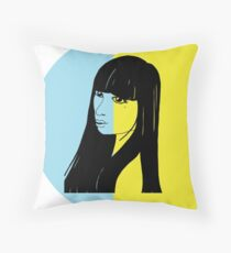 Black Haired Babe Throw Pillow