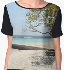 Relaxing beach in the Maldives Chiffon Top