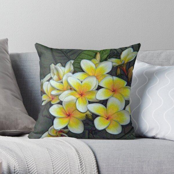 Fragrant Frangipani Throw Pillow