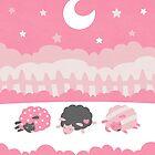 Sleepy Sheep Pink by Holly Bender
