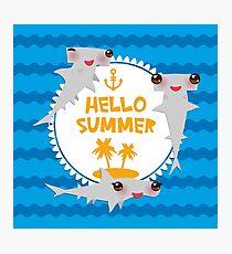 Hello Summer. Kawaii hammerhead shark  Photographic Print