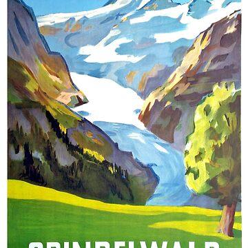 Grindelwald mountains, Switzerland, vintage travel poster by AmorOmniaVincit