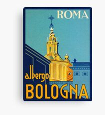 Rome, Italy, hotel Bologna, vintage travel poster Canvas Print