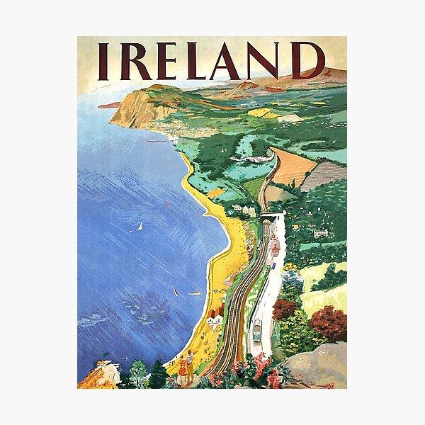 Ireland, coast, vintage travel poster Photographic Print