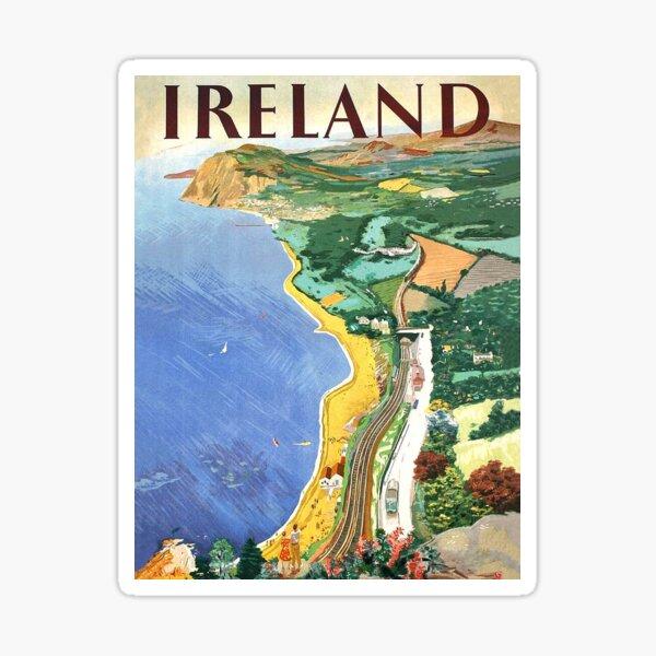 Ireland, coast, vintage travel poster Sticker