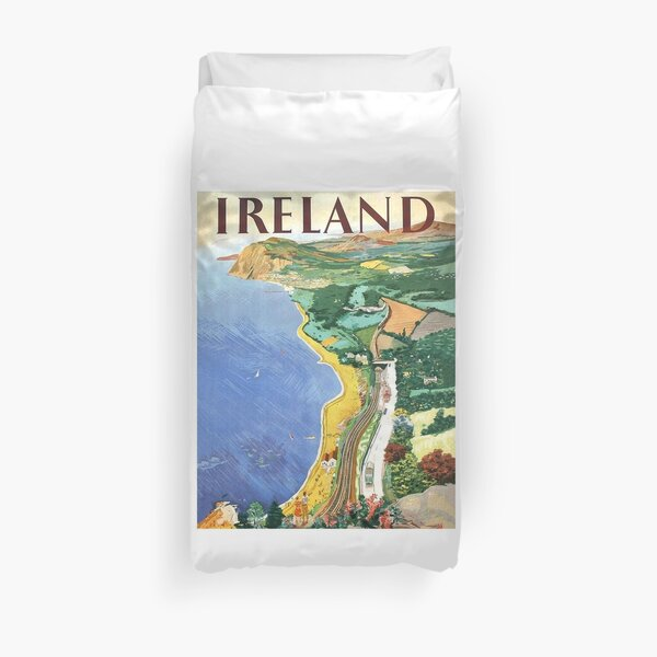 Ireland, coast, vintage travel poster Duvet Cover