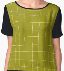 Yellow and white check, square, plaid pattern Chiffon Top