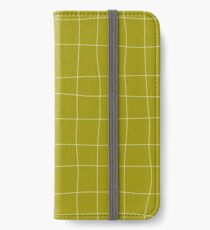 Yellow and white check, square, plaid pattern iPhone Wallet/Case/Skin