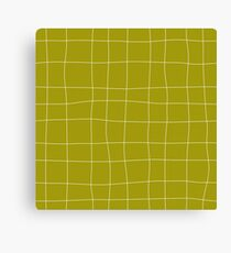 Yellow and white check, square, plaid pattern Canvas Print