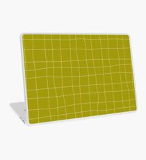 Yellow and white check, square, plaid pattern Laptop Skin