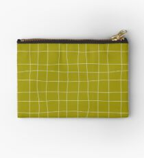 Yellow and white check, square, plaid pattern Studio Pouch