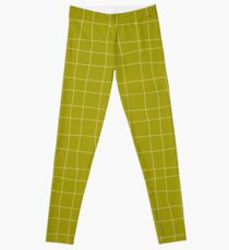 Yellow and white check, square, plaid pattern Leggings