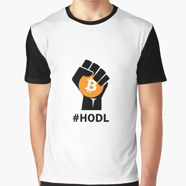 HODL Bitcoin BTC - Black fist holding Bitcoin Graphic T-Shirt