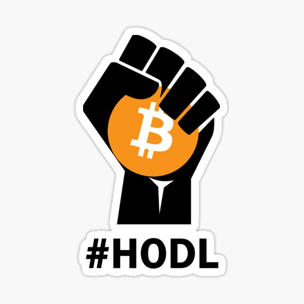 HODL Bitcoin BTC - Black fist holding Bitcoin Sticker
