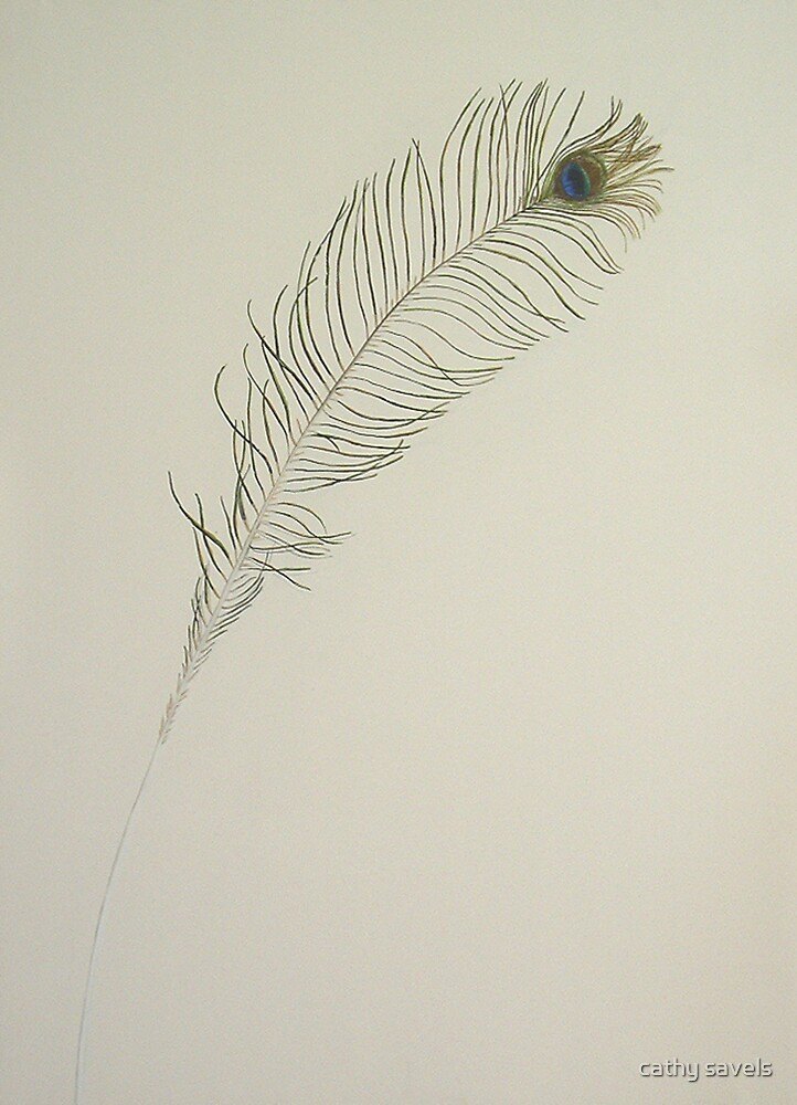 peacock feather acrylic by cathy savels