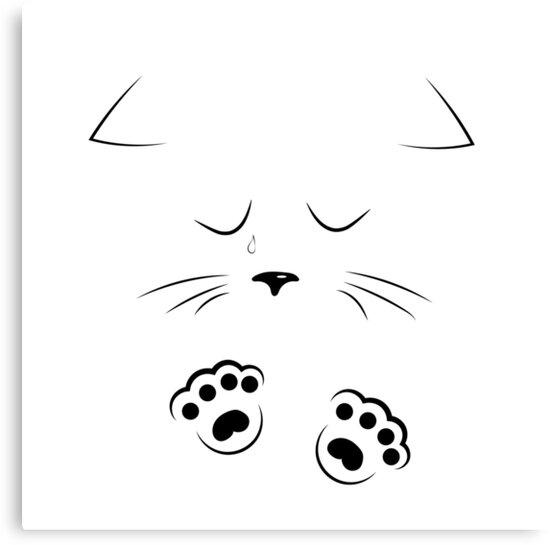 Lienzos Dibujo De Contorno Cara De Gato Triste Con Patas De