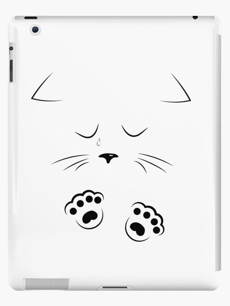 Vinilos Y Fundas Para Ipad Dibujo De Contorno Cara De Gato Triste