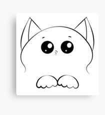 drawing cat face with paws Canvas Print