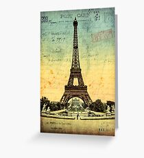 Paris Vintage Eiffel Tower Greeting Card