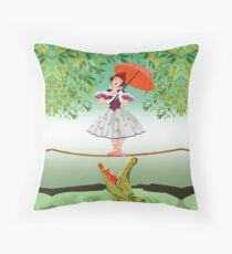 Cute halloween The crocodile girl Deadly circus Throw Pillow