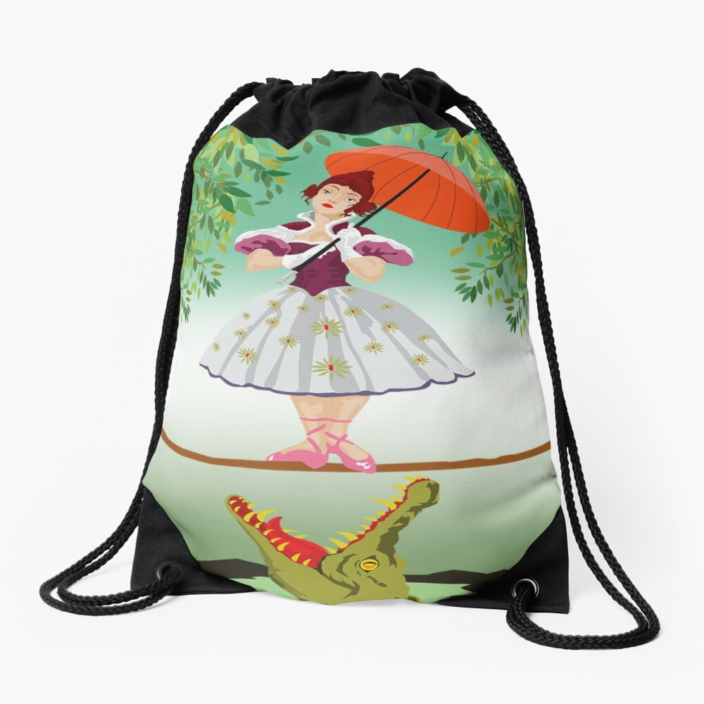 Cute halloween The crocodile girl Deadly circus Drawstring Bag