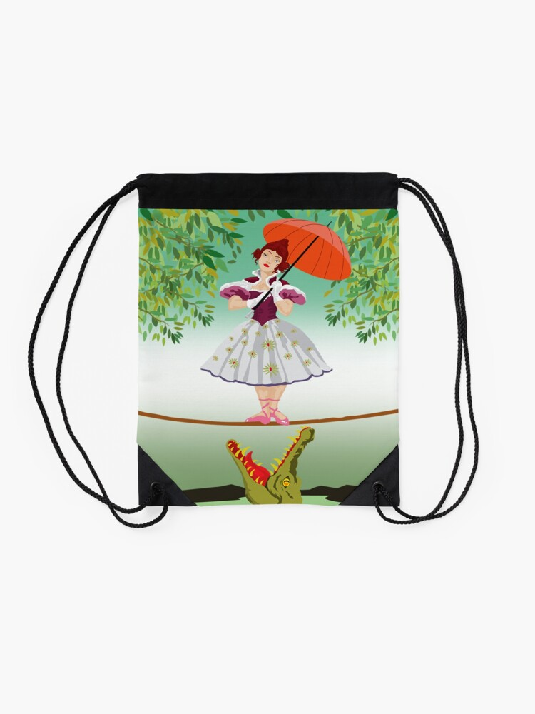 Alternate view of Cute halloween The crocodile girl Deadly circus Drawstring Bag