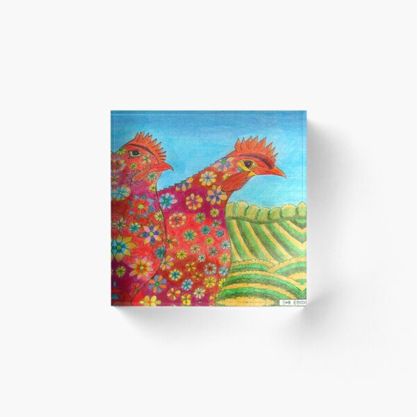 395 - FLORAL HENS - DAVE EDWARDS - COLOURED PENCILS - 2013 Acrylic Block