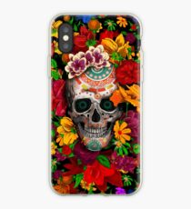 Day of the dead sugar skull with flower iPhone Case