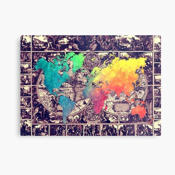 world map 130 #worldmap #map Metal Print