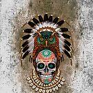 indian native Owl sugar Skull by Dadang Lugu Mara Perdana
