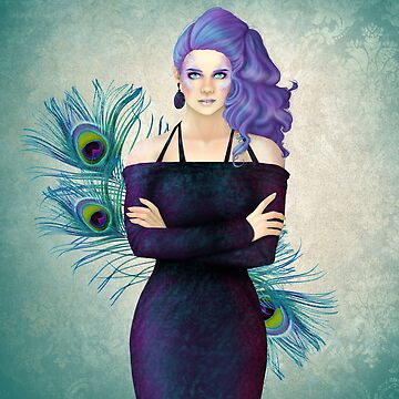 Purple Peacock Pinup by CatAstrophe