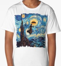 The Flying Lady with an Umbrella Oil Painting Long T-Shirt
