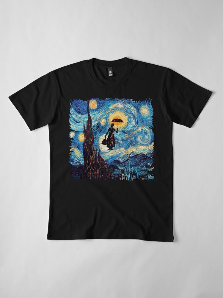 Alternative Ansicht von Die fliegende Dame mit einem Regenschirm-Ölgemälde Premium T-Shirt