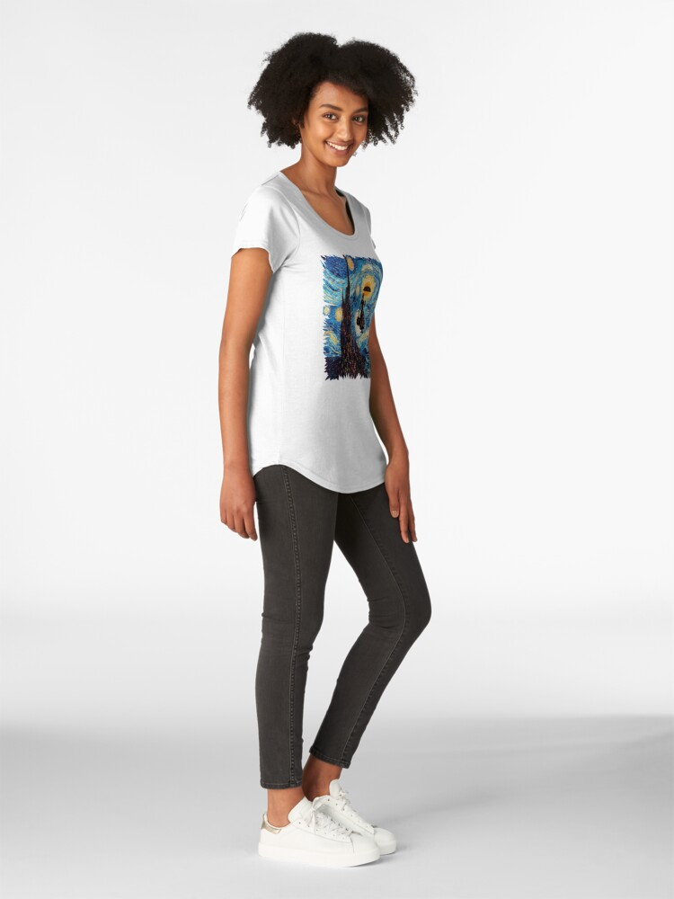 Alternative Ansicht von Die fliegende Dame mit einem Regenschirm-Ölgemälde Premium Rundhals-Shirt