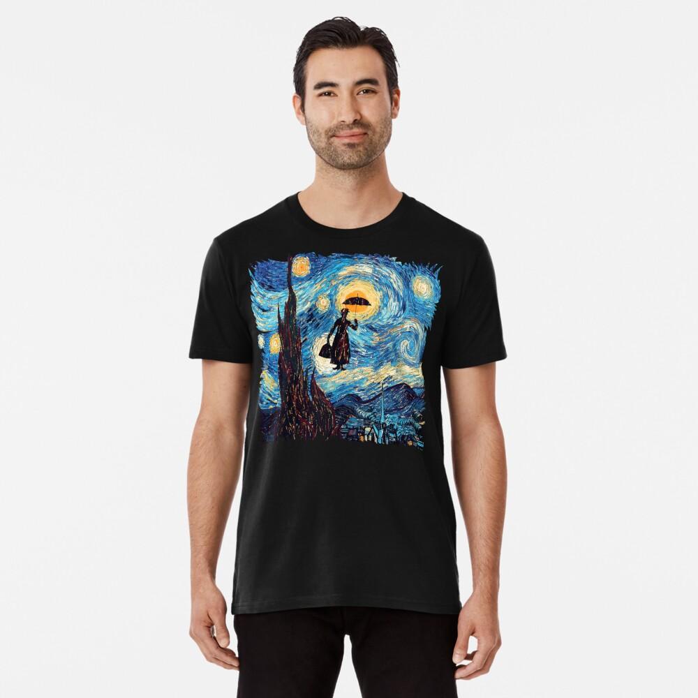 Die fliegende Dame mit einem Regenschirm-Ölgemälde Premium T-Shirt