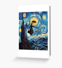 The Flying Lady with an Umbrella Oil Painting Greeting Card