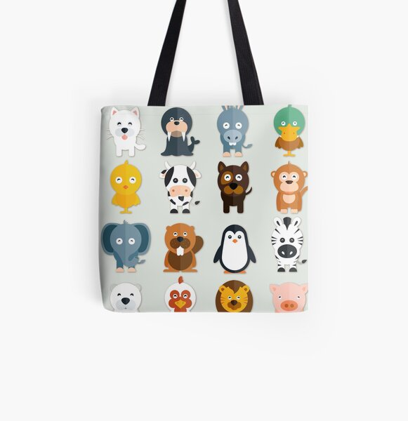 Cutest zoo Animals All Over Print Tote Bag